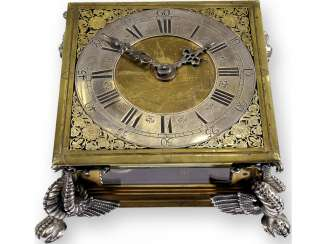 Desk clock: An early horizontal table clock with exceptional size and quality, George, Rudolf No. 1700, probably Gdansk, around 1670-1700