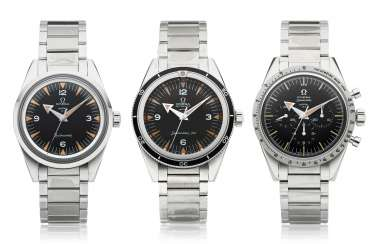 OMEGA, 1957 TRILOGY SET, SPEEDMASTER, SEAMASTER 300, RAILMASTER, 60TH ANNIVERSARY LIMITED EDITION NO. 153 OF 557