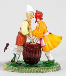 Glass sculpture of a dancing Tyrolean peasant couple