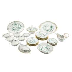 MEISSEN dinner service for 6 persons Indian painting green', 20. Century