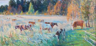 Autumn evening.the herd