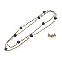 Vintage 2-piece long chain with 9 lapis lazuli balls, yellow gold 14K,