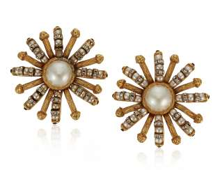 UNSIGNED CHANEL FAUX PEARL AND RHINESTONE EARRINGS