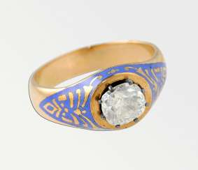 Ring with blue painted enamel and diamond