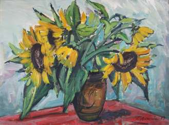 Friedhelm Beilharz, (geb. In 1931, Düsseldorf) still life with sunflowers