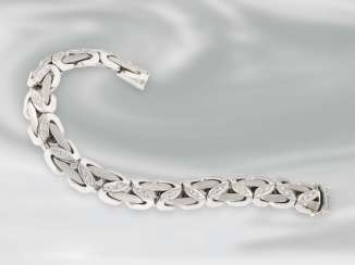 Bracelet: very high quality heavy white gold bracelet with brilliant trim, approx. 1ct, 18K Gold
