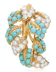CARTIER TURQUOISE AND DIAMOND BROOCH