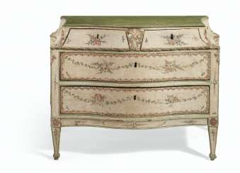 A NORTH ITALIAN CREAM AND POLYCHROME-PAINTED COMMODE