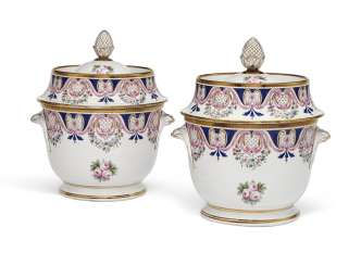 TWO PORCELAIN ICE-PAILS AND COVERS