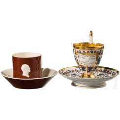 Two coffee cups with Russian motifs, complete with saucer, 1. Third 19. Century