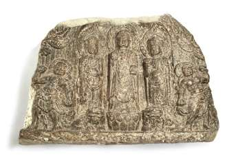 Stone stele with a carving of the Buddha and guardian figures