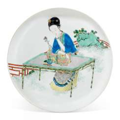A FAMILLE VERTE 'LADY IN A GARDEN' DISH