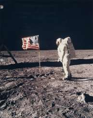 Buzz Aldrin and the American flag on the Sea of Tranquillity, July 16-24, 1969