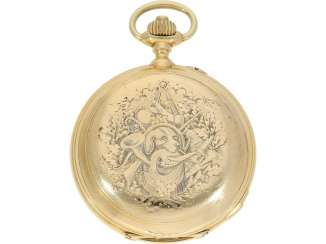 Pocket watch: historically interesting, heavy gold savonnette with the Grande & Petit Sonnerie and Repetition, attributed to Henri Grandjean & Cie. (Le Locle), calibre Audemars No. 17880, a former possession of the counts of Platen-hall mouth (187