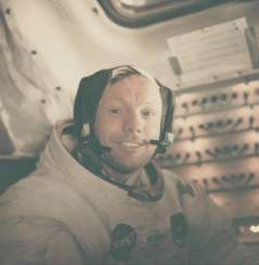 Portrait of Neil Armstrong back in the LM after the historic moonwalk, July 16-24, 1969