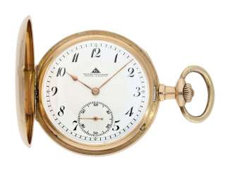 Pocket watch: glashütte precision pocket watch, gold savonnette No. 209131, German precision watch factory Glashütte, CA. 1920