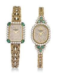 TWO EMERALD AND DIAMOND WRISTWATCHES