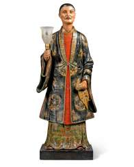 A REGENCY POLYCHROME-PAINTED PLASTER NODDING CHINESE FIGURE ...