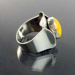 Designer Ring: Gold amber, silver 835, Fischland jewelry Ribnitz-Damgarten, Art-Deco, very good.
