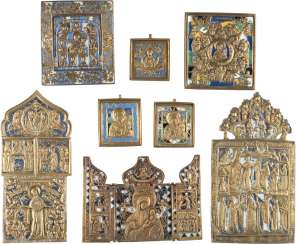 COLLECTION OF SEVEN BRONZE ICONS AND A TRIPTYCH WITH MOTHER OF GOD-REPRESENTATIONS