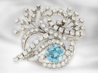 Brooch / pin: unusual and very decorative vintage diamond brooch with blue precious zircon and approx. 3.75 ct brilliant-cut diamonds, formerly very expensive handcraft, 14K white gold
