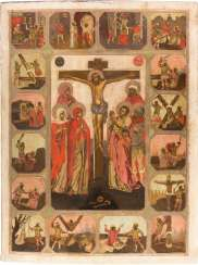 MONUMENTAL AND RARE ICON WITH THE CRUCIFIXION OF CHRIST AND THE MARTYRDOMS OF THE TWELVE APOSTLES