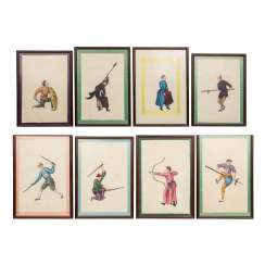 Sequence of 8 paintings. CHINA, around 1920.