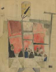 GRISHENKO, ALEXEI (1883-1977) In the Cafe , signed twice, once on the cardboard, and dated