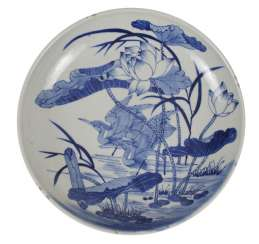 Porcelain Plate With Crane