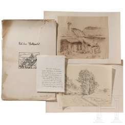 "Anna Brabbé - 40 original drawings ""From the Waldviertel"" with a letter of delivery as a Christmas present to Hitler in 1934"