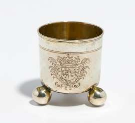 Small ball footed beaker with coat of arms engraving