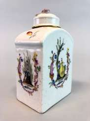 Early and rare tea caddy: Watteau painting, 1740