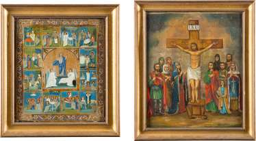 TWO LARGE ICONS: TAGS ICON AND CRUCIFIXION OF CHRIST WITH SELECTED SAINTS