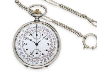Pocket watch: silver Longines chronograph with rare multi-colored dial and counter, approx. 1915