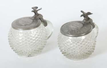 2 Tübingen hedgehogs with tin lids, southern Germany