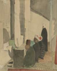 GRISHENKO, ALEXEI (1883-1977) Men Praying , signed twice, once on the cardboard, and indistinctly dated