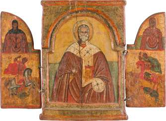 TRIPTYCH WITH SAINT NICHOLAS OF MYRA AND SELECTED SAINTS Greece