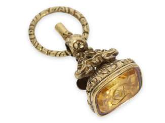 Watch key: the Golden pomp-key with citrine signet, France, around 1820