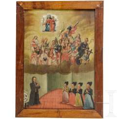 Ex-voto paintings, with the presentation of the fourteen Holy helpers, German, 18. Century