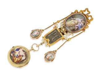 Pocket watch: unique and very fine Gold enamel Spindeluhr with corresponding Gold/enamel Chatelaine with diamonds, Gudin a Paris, CA. 1760
