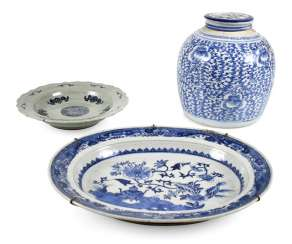Two porcelain plates and a lidded box with blue-and-white decor