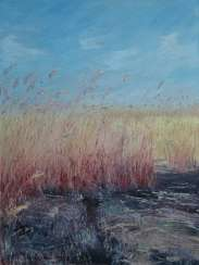 Original landscape painting oil on canvas, Reed after fire