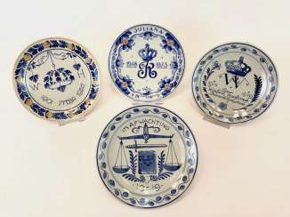 Four plates Delft / anniversary plate: 25-year jubilee in 1973. At the end of WK I, 1919. 25-year wedding anniversary, 1926.