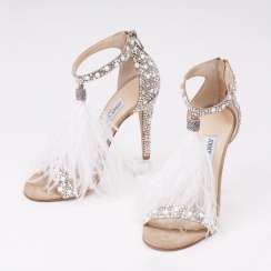 Pair of high heels sandals Viola 100 with feather decoration and rhinestones