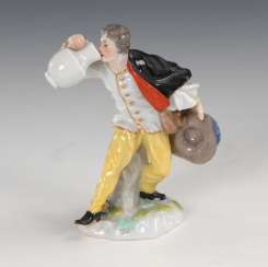 Miniature: peasant with jug, Meissen.