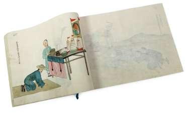 Album mit 100 figürlichen Darstellungen, Aquarell auf Papier