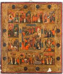 ICON OF THE DESCENT INTO HELL AND RESURRECTION OF CHRIST WITH 12 HIGH-STRENGTH OF THE ORTHODOX CHURCH YEAR
