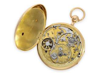 Pocket watch: very beautiful gold pocket watch with Repetition, Music, movement, and enamel painting, attributed to Jacques Oltramare, (Geneva), CA. 1800