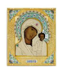 A SILVER-GILT CLOISONNÉ AND CHAMPLEVÉ ENAMEL AND SEED-PEARL ICON OF THE MOTHER OF GOD OF KAZAN