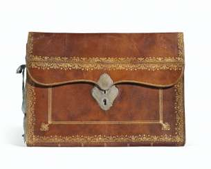 A RESTAURATION GILT-TOOLED BROWN LEATHER DOCUMENT CASE
